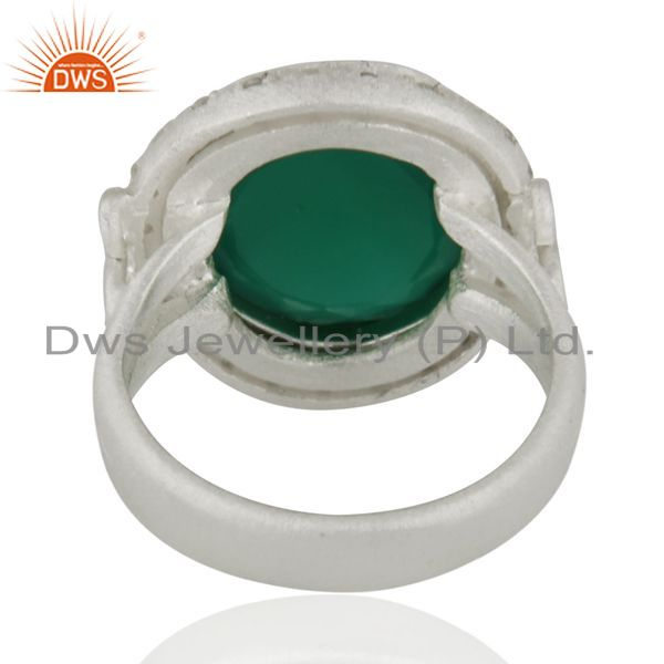 Suppliers Handmade Green Onyx And Cubic Zirconia Handmade Sterling Silver Ring