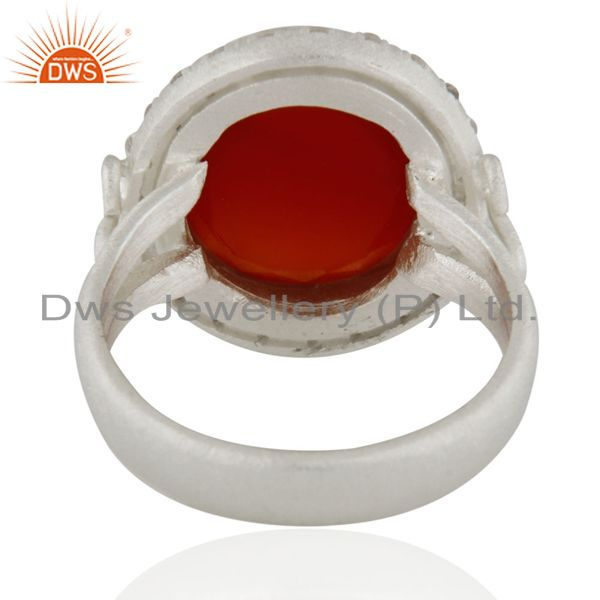 Suppliers 925 Sterling Silver Faceted Red Onyx Gemstone And White Zircon Handmade Ring