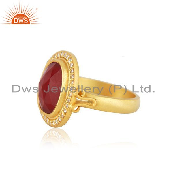 Suppliers Handmade 925 Sterling Silver Red Onyx Gemstone Gold Plated Ring Size 7 Jewelry