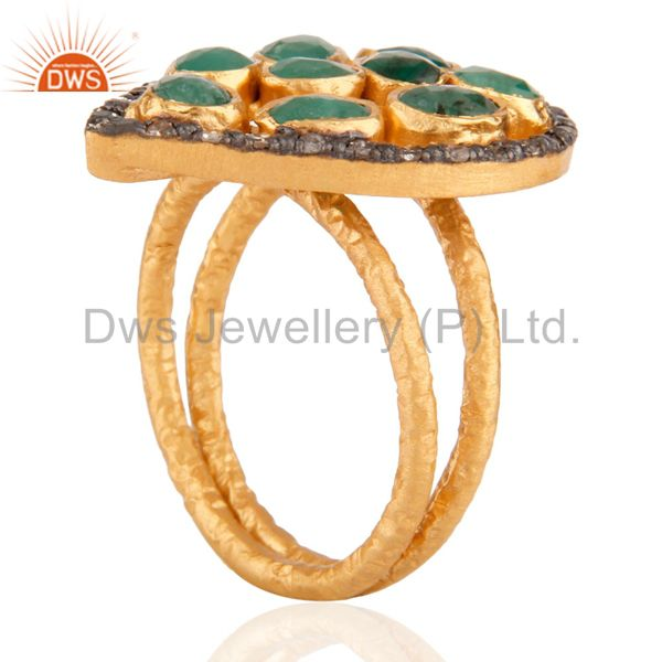 Suppliers 925 Sterling silver Emerald Gemstone Diamond Ring in 24k Brushed Gold Plated