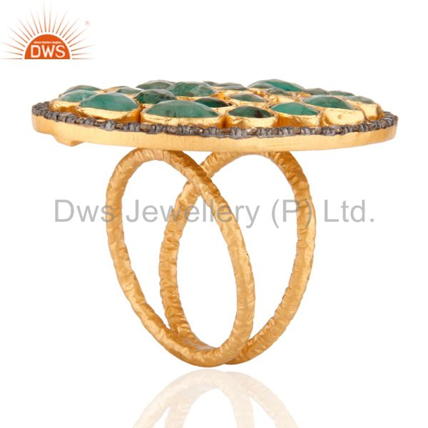 Suppliers Natural Emerald Rough Slice Stone 24k Yellow Gold Over Sterling Silver Diamond R