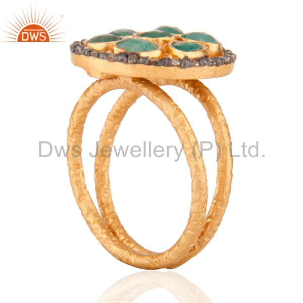 Suppliers 925 SIlver Diamond High Quality Emerald Designer Cocktail Ring Plated with 24K G