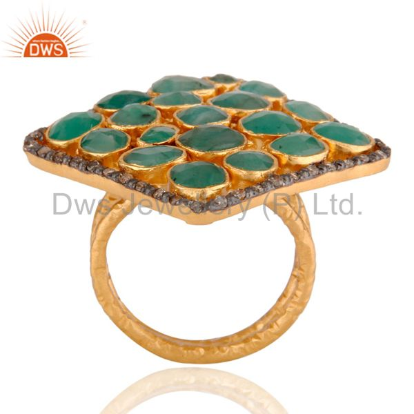 Suppliers Emerald Gemstone 18ct Gold Plated Plated on Sterling Silver Ring With Diamond