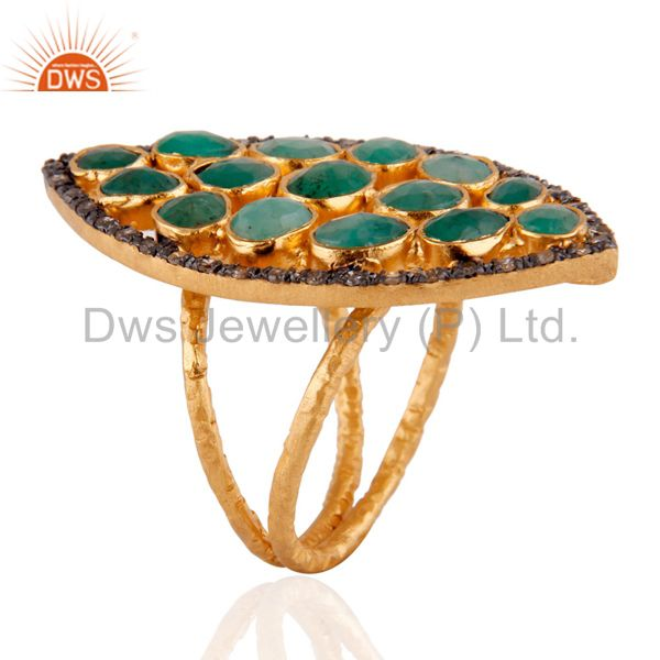 Suppliers 18K Yellow Gold Over Sterling Silver Raw Emerald And Pave Diamond Statement Ring
