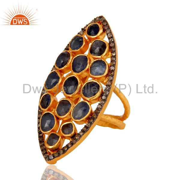 Suppliers 18K Yellow Gold Over Sterling Silver Blue Sapphire Pave Diamond Statement Ring