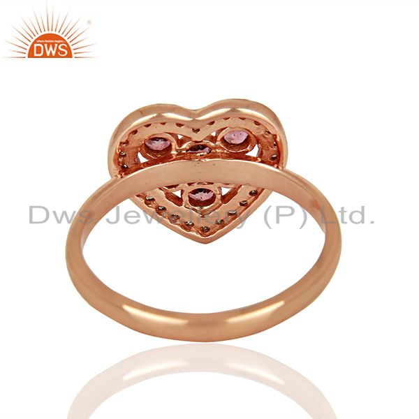 Suppliers Heart Shape Pink Tourmaline Diamond Indian Rings Supplier Jewelry