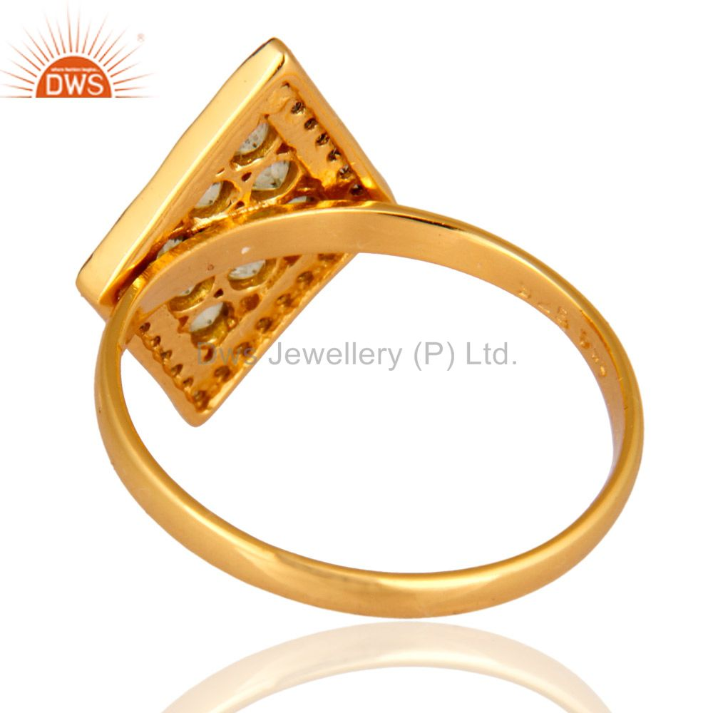 Suppliers 18K Yellow Gold Over Sterling Silver Pave Diamond Round Peridot Ring For Women