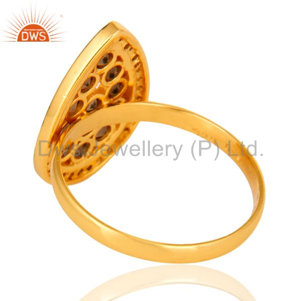 Best Selling Handmade Pave Diamond Smoky Quartz 925 Sterling Silver Ring With Gold Plated