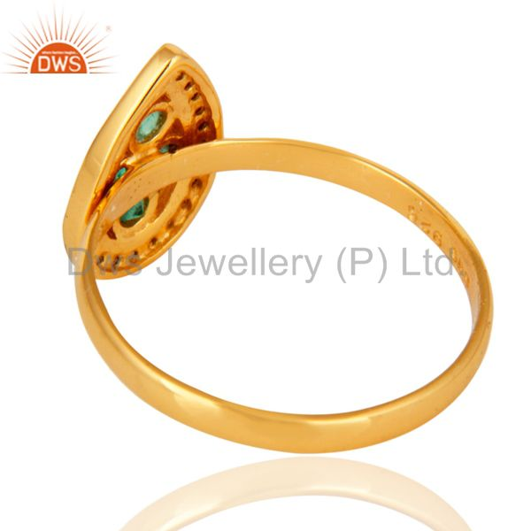 Suppliers Beautiful Emerald Gemstone Ring With Diamond Accents In 18K Gold Over Silver 925