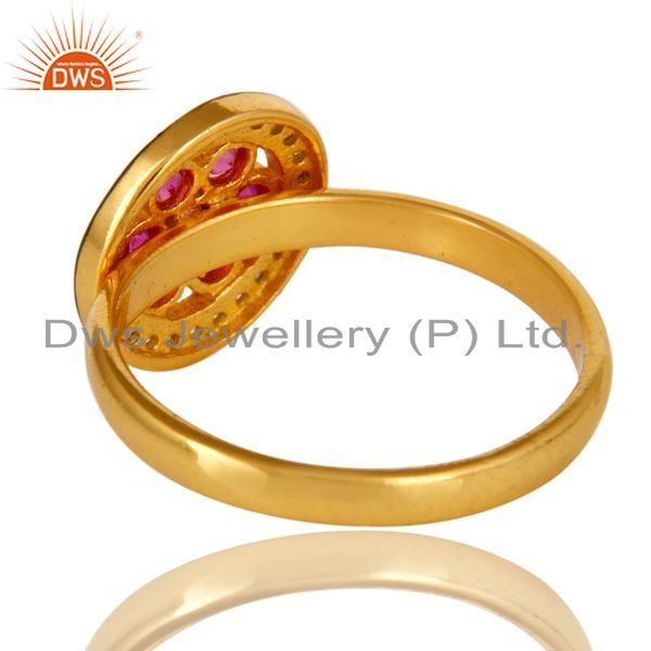 Suppliers Shiny 14K Yellow Gold Plated Sterling Silver Ruby Cubic Zirconia Cocktail Ring