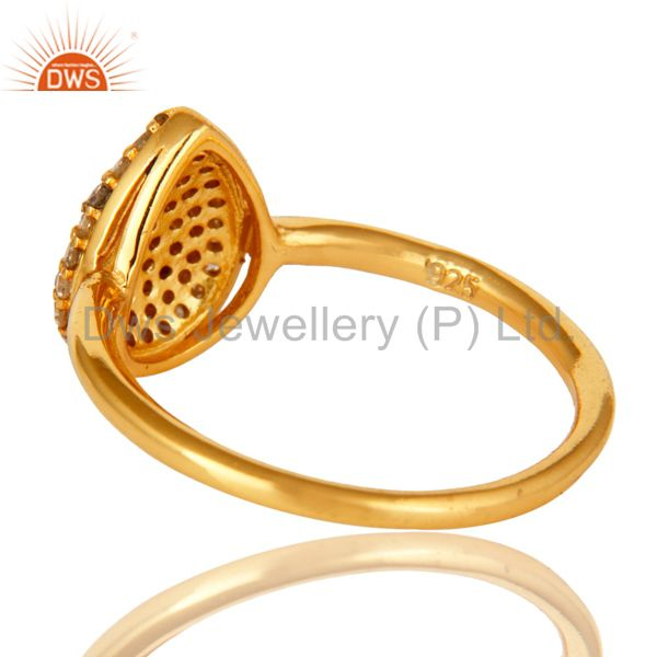 Suppliers 14K Yellow Gold Over Sterling Silver Natural Pave Set Diamond Stacking Ring