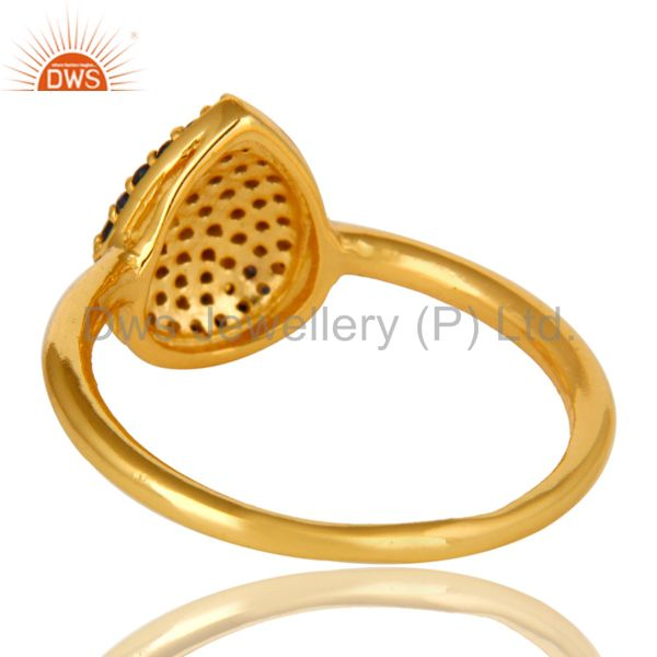 Suppliers 18K Yellow Gold over Sterling Silver Pave Set Blue Sapphire Stackable Ring