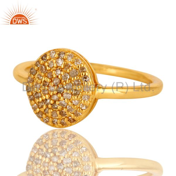Suppliers 18K Yellow Gold Over Sterling Silver Natural Pave Set Diamond Circle Ring