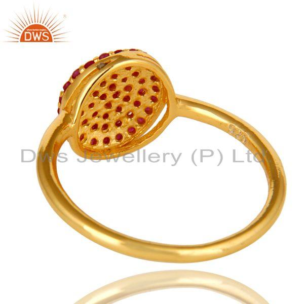 Suppliers 14K Yellow Gold Over Sterling Silver Pave Ruby Gemstone Stacking Cocktail Ring