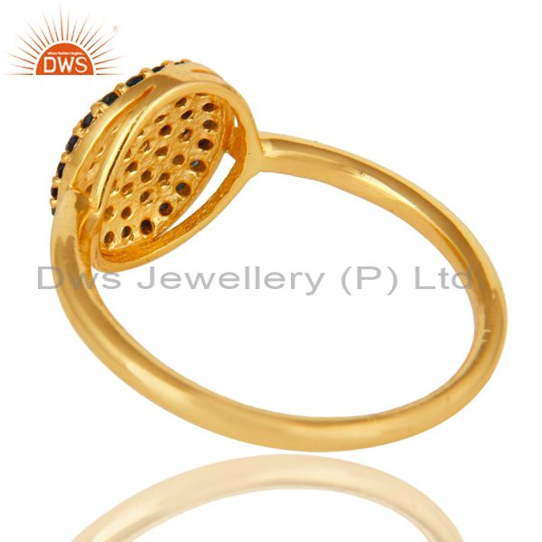 Suppliers 18K Yellow Gold Plated Sterling Silver Pave Blue Sapphire Stackable Ring