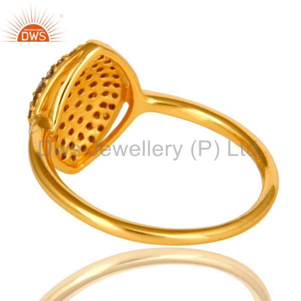 Suppliers Shiny 18K Yellow Gold Plated Sterling Silver Pave Set Diamond Statement Ring