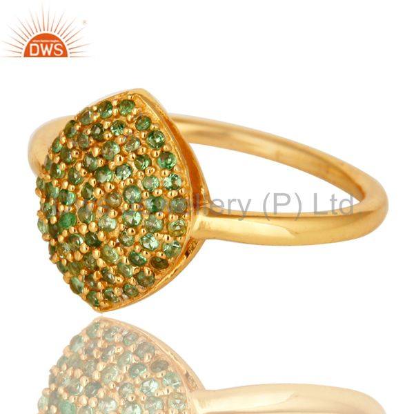 Suppliers Shiny 14K Yellow Gold Plated Sterling Silver Pave Tsavorite Statement Ring