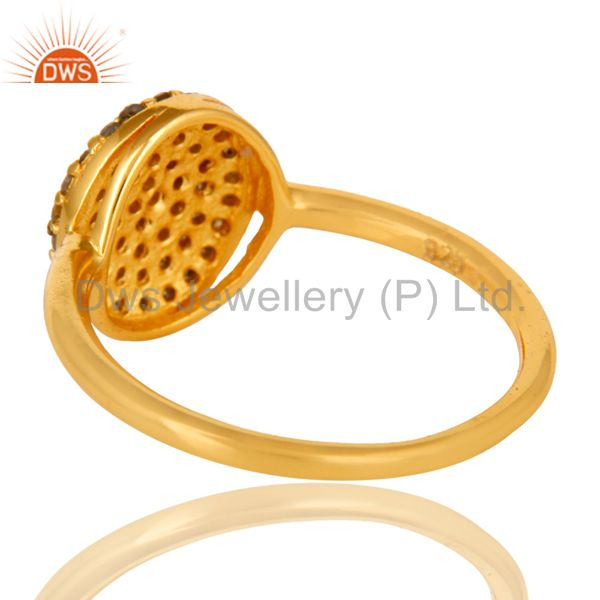 Suppliers 18K Yellow Gold Plated Sterling Silver Pave Set Diamond Stackable Ring