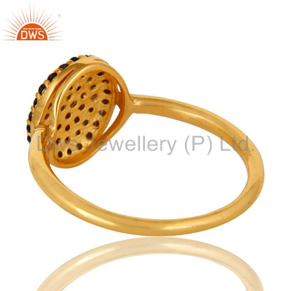 Suppliers 18K Yellow Gold Plated Sterling Silver Pave Set Blue Sapphire Stackable Ring