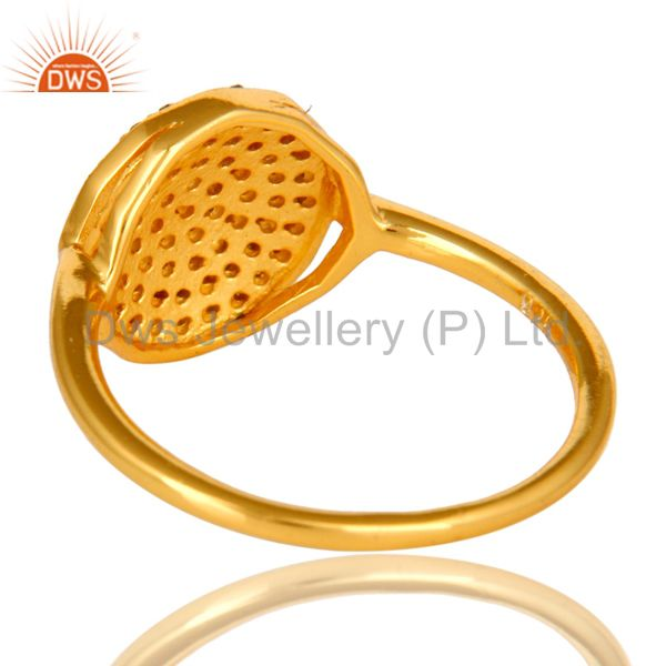 Suppliers 18K Yellow Gold Plated Sterling Silver Pave Set Diamond Statement Stack Ring