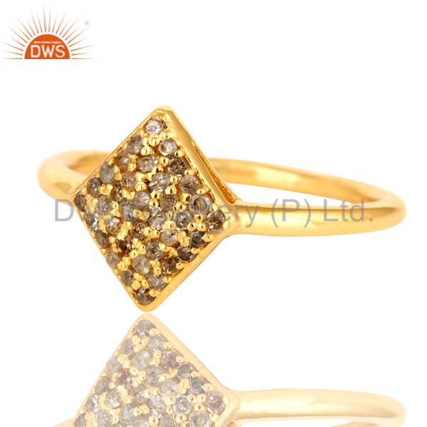 Suppliers 18k Yellow Gold Over Sterling Silver Pave-Set Diamond Stacking Engagement Ring