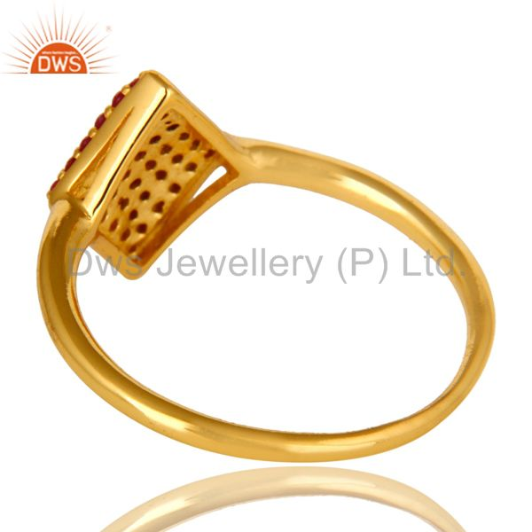 Suppliers 14K Yellow Gold Plated Sterling Silver Pave Ruby Gemstone Stacking Cocktail Ring