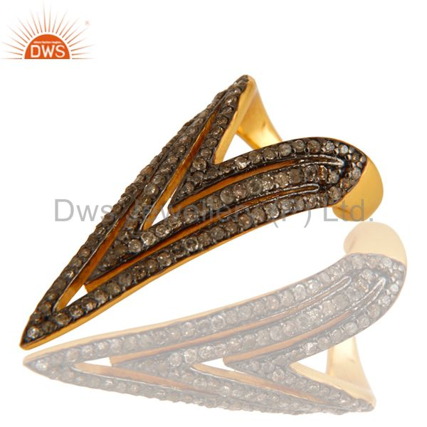 Suppliers Pave Set Diamond Nail Fashion Ring Made In 14K Gold Over Sterling Silver