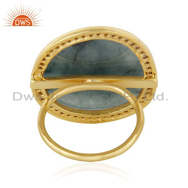 Suppliers Natural Emerald Gemstone and Pave Diamond Silver Statement Ring Wholesale