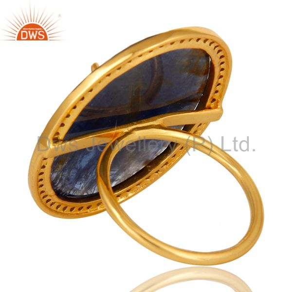 Suppliers Pave Diamond And Blue Sapphire Cocktail Ring In 18K Yellow Gold Sterling Silver