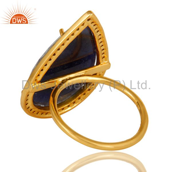 Suppliers 18K Yellow Gold Sterling Silver Pave Diamond And Blue Sapphire Stackable Ring