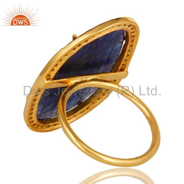 Suppliers 18K Yellow Gold Sterling Silver Pave Diamond And Blue Sapphire Cocktail Ring