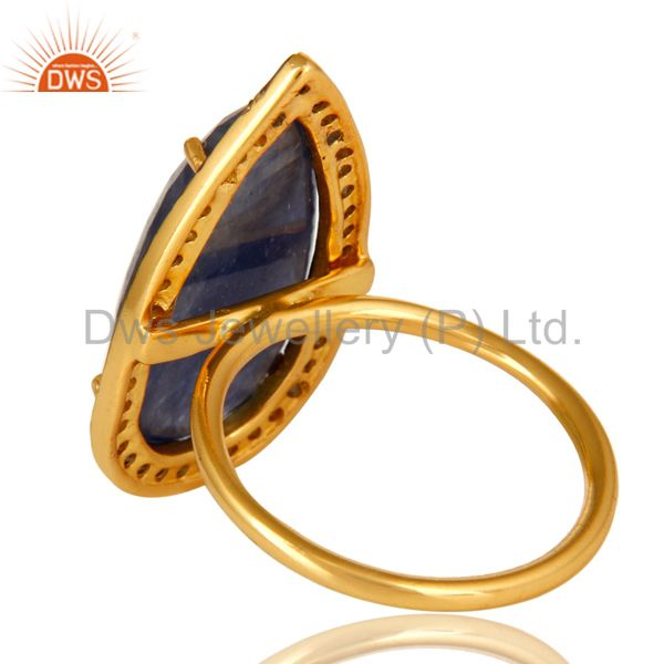 Suppliers 18K Yellow Gold Over Sterling Silver Pave Diamond Blue Sapphire Statement Ring