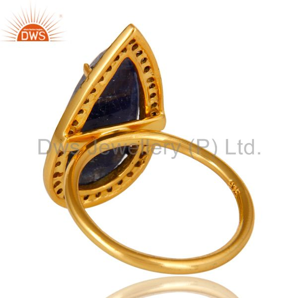 Suppliers 18K Yellow Gold Sterling Silver Pave Diamond And Blue Sapphire Statement Ring