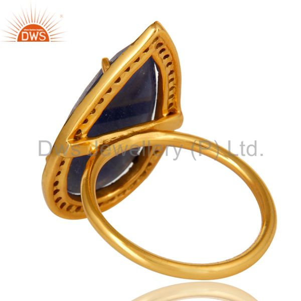 Suppliers 18K Yellow Gold Sterling Silver Pave Set Diamond Blue Sapphire Statement Ring