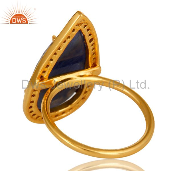 Suppliers 14K Yellow Gold Sterling Silver Pave Diamond And Blue Sapphire Statement Ring