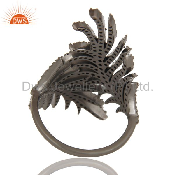 Suppliers 925 Sterling Silver Black Oxidized Handmade Pave Diamond Ring Stunning Jewelry