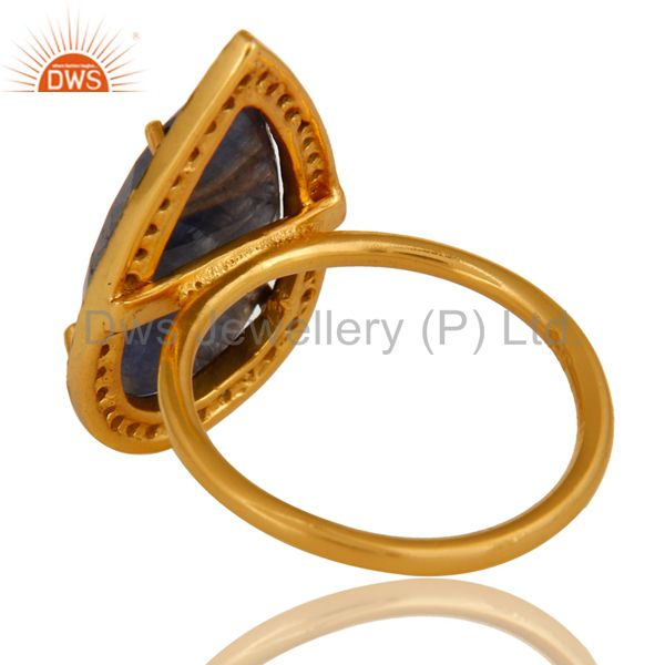 Suppliers 18K Gold Sterling Silver Pave Diamond And Blue Sapphire Fashion Statement Ring