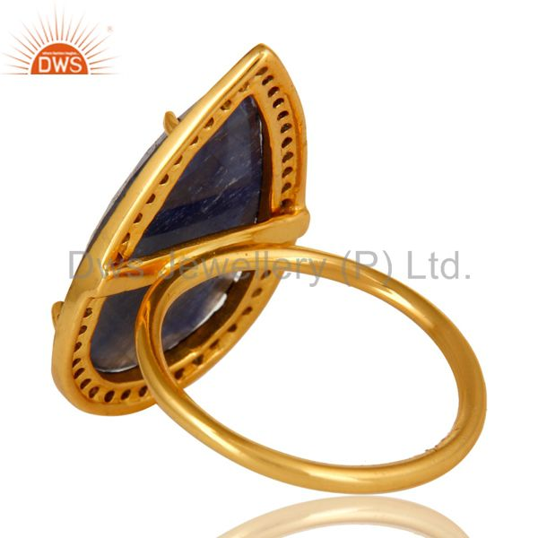 Suppliers 14K Yellow Gold Sterling Silver Blue Sapphire Statement Ring With Pave Diamond