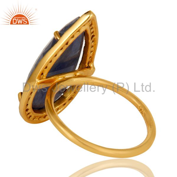 Suppliers 18K Gold Plated Sterling Silver Pave Diamond And Blue Sapphire Statement Ring