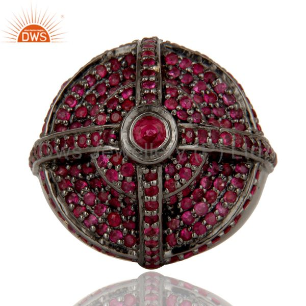 Suppliers Victorian Estate Style Pave Set Natural Ruby Gemstone Silver Dome Ring