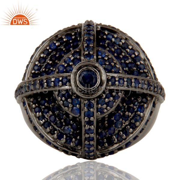 Suppliers Victorian Estate Style Pave Set Natural Blue Sapphire Gemstone Silver Dome Ring