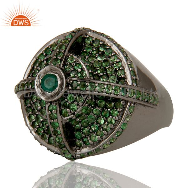 Suppliers Victorian Estate Style Pave Tsavourite and Emerald Gemstone Silver Dome Ring