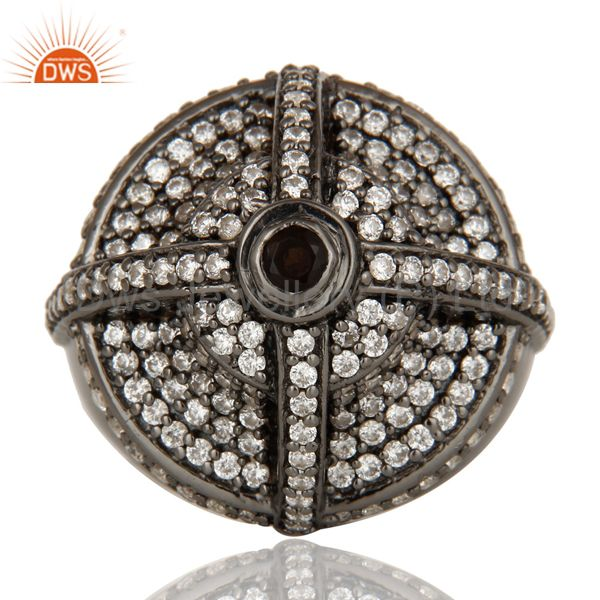 Suppliers Victorian Estate Style Pave Set White CZ and Smokey Gemstone Silver Dome Ring