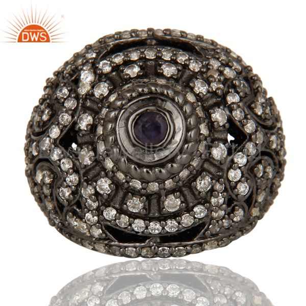 Suppliers Pave Setting Iolite and White CZ Victorian Estate Style Gemstone Silver Ring