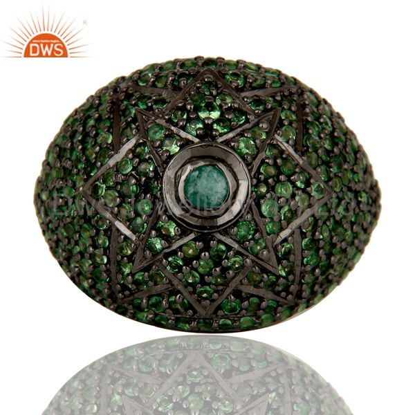Suppliers Victorian Estate Style Pave Setting Tsavourite Emerald Gemstone 925 Silver Ring