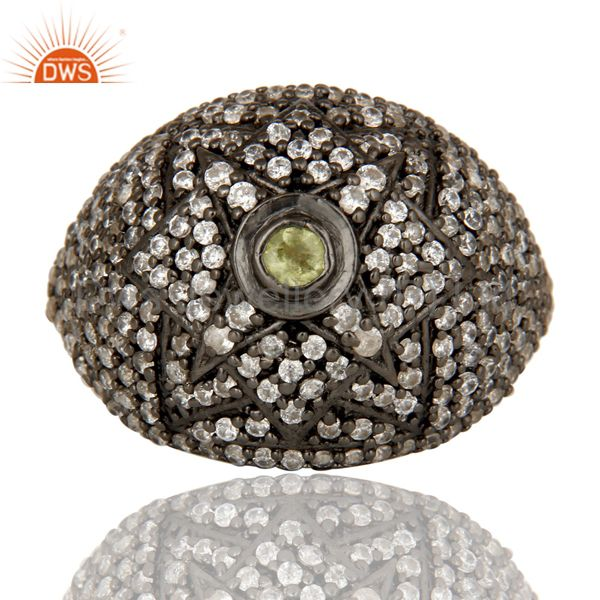 Suppliers Victorian Estate Style Pave Set Peridot and White CZ Gemstone 925 Silver Ring