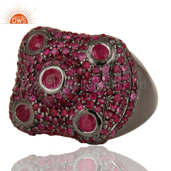 Suppliers Pave Ruby Birthstone Victorian Estate Style Gemstone 925 Silver Ring
