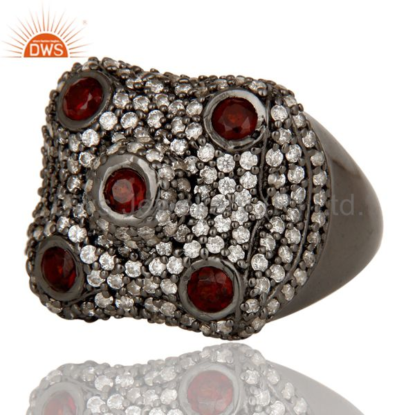 Suppliers Pave Garnet and White Zircon Victorian Estate Style Gemstone 925 Silver Ring