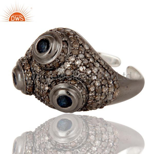 Suppliers Pave Diamond and Blue Sapphire Victorian Estate Style Sterling Silver Ring