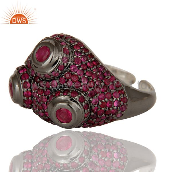 Suppliers Pave Setting Ruby Birthstone Victorian Estate Style Sterling Silver Ring